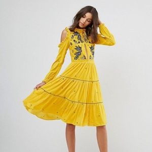 Frock And Frill Cold Shoulder Velvet Smock Dress